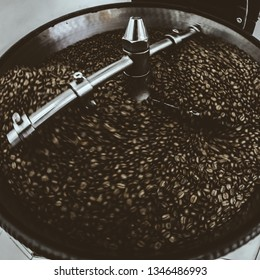 Coffee Beans spinning in Coffee roaster, Coffee Roaster Cooling Batch of Beans, vintage toned