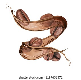 Coffee beans with coffee splashes isolated on white background