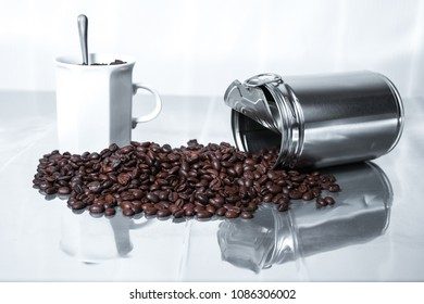 coffee beans sprinkled on the table