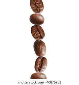 Coffee beans in a stack
