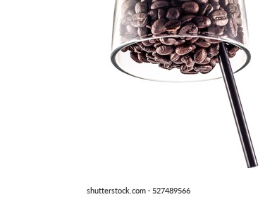 Coffee Beans and Straw coffee in glass isolated on white background area for copy space.Concept crazy coffee area for copy space.