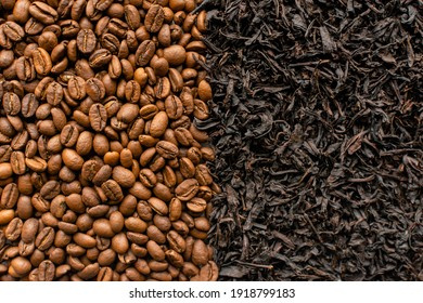 Coffee beans texture. Black tea texture. Coffee and tea background.