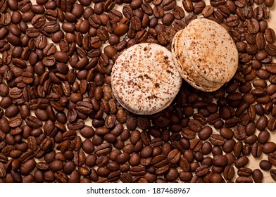 the coffee beans and two macaroons