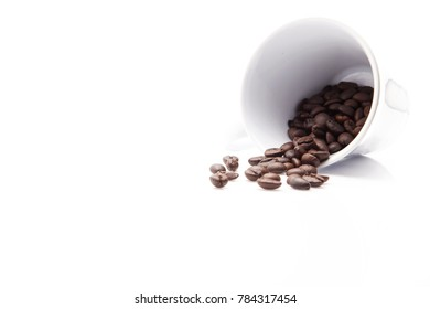 Coffee beans in white coffee cup in white background and space for wording