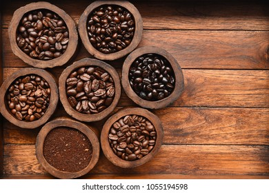 coffee beans in wooden bowl for background