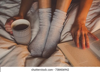 coffee in bed with a book