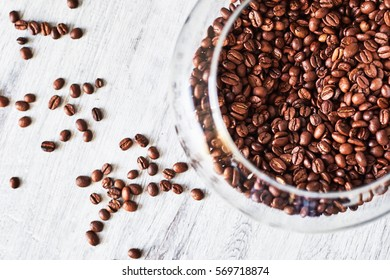 Coffee beens in a glass vase