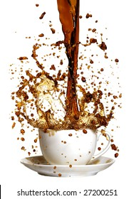 coffee being poured in to a cup and saucer from a height making a mess