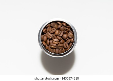 coffee bland in Stainless steel glass on the white background