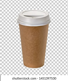 Coffee in blank craft or kraft cardboard takeaway cup with plastic lid on transparent  background