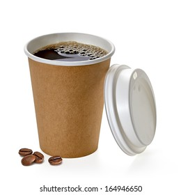 Coffee in blank craft or kraft cardboard small takeaway cup with beans mockup or mock up template  isolated on white background