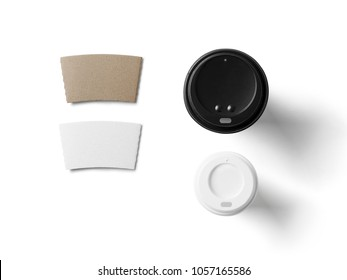 Coffee in blank craft take away cup isolated on white background including clipping path
