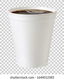 Coffee in blank small, takeaway paper or cardboard cup on isolated background packaging template mockup collection with clipping path