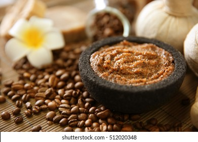 Coffee body scrub and spa set