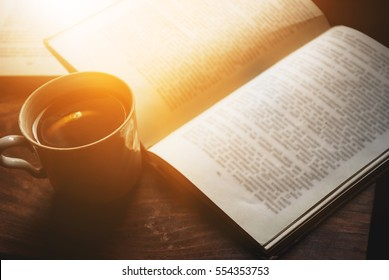 Coffee and book, literature
