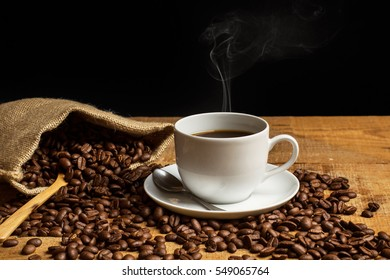Coffee brains and a cup of hot coffee