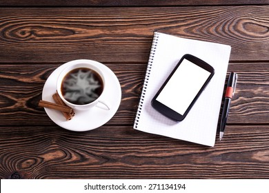 Coffee break background.Office table top view