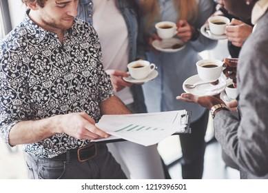 Coffee Break Business Cafe Celebration Event Party. Teamwork Brainstorming Concept.