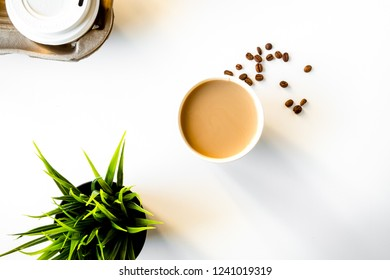 coffee break at white background top view