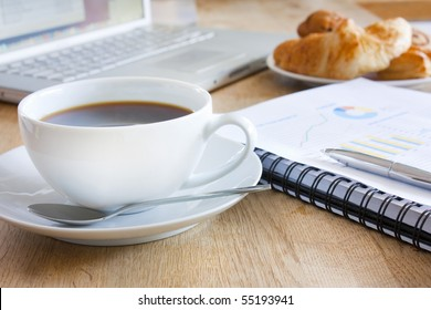coffee, and breakfast pastries for a business breakfast