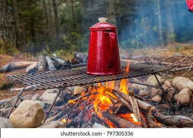 Coffee brewing over an Adirondack campfire.