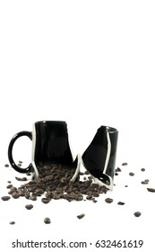 Coffee with broken glass. Drinking too much of coffee can cause gastritis.