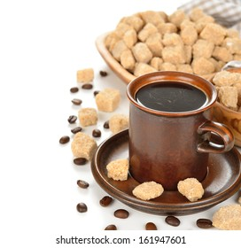 Coffee and brown sugar on a white background