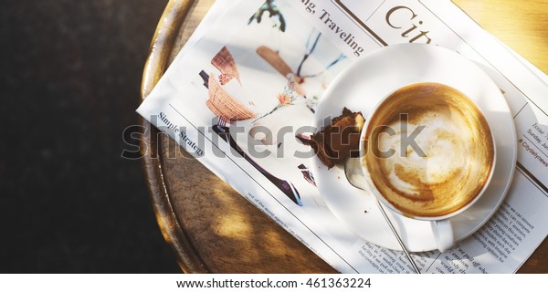Coffee Brownie Newspaper Cafe Concept