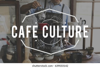 Coffee Cafe Lifestyle Word Stamp Banner Graphic