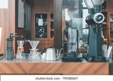 coffee cafe's counter with pos machine