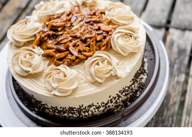 Coffee Cake With Almond Nut And Butter Cream