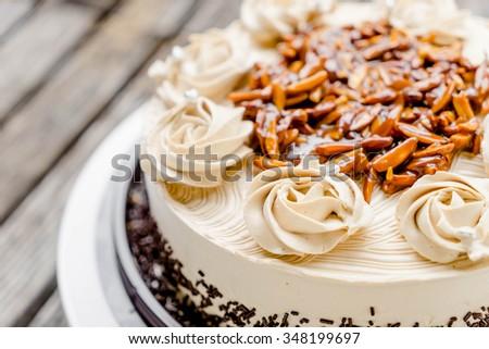 Coffee Cake Almond Nut Butter Cream Stock Photo Edit Now 348199697