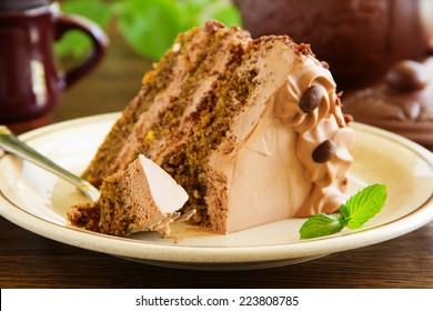 Coffee cake with chocolate.