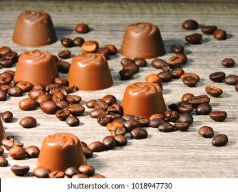 Coffee candies and coffee beans