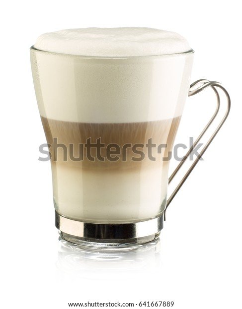 Coffee cappuccino Coffee in a glass cup with a metal handle