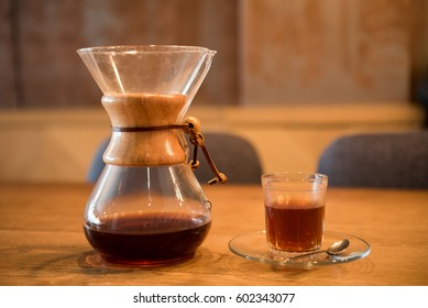 Coffee carafe and cup served in cafee, filter coffee