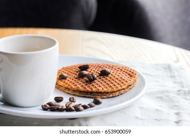 Coffee and caramel waffle and beans
