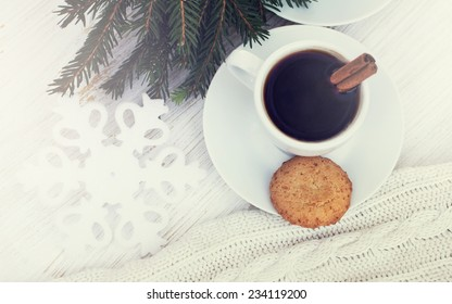 coffee or chocolate with cinnamon and cookies. christmas still life