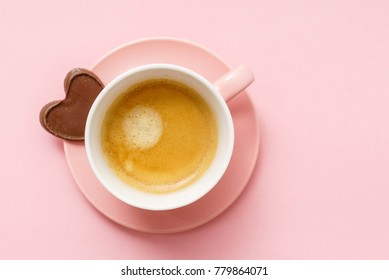coffee with chocolate hearts