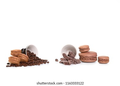 coffee and chocolate macaroons isolated