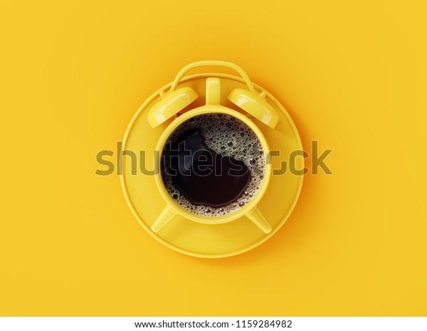 Coffee clock on yellow background. creative idea. minimal concept