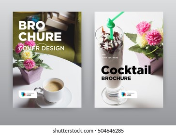 Coffee and Cocktail on Table white background Cafe Home Trend annual report journal magazine banner poster brochure flyer design template, Leaflet cover presentation abstract flat, layout in A4 size
