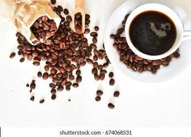 coffee and coffeebeans on white background