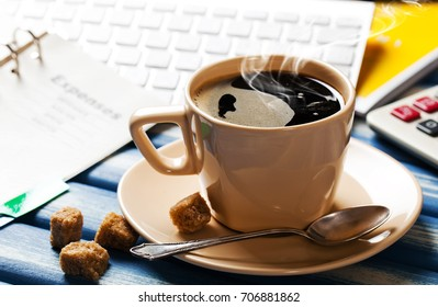 Coffee in a composition with objects for doing business
