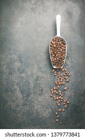 Coffee composition on dark background, space for text