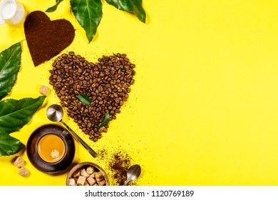 Coffee composition on yellow background