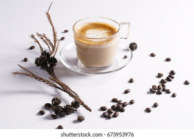 Coffee concept, coffee bean, a cup of coffee, coffee on the table, idea for design