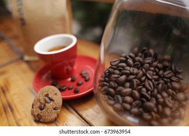 Coffee concept for design and advertise. Coffee cup, coffee beans, coffee break