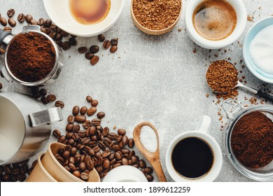 Coffee concept with different types of coffee and props for coffee making on grey background. View from above.