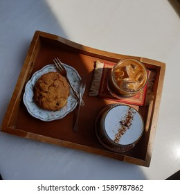 Coffee and cookie, Desert time in cafe, healing time